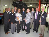 From left: Rodney Brutton, NCC Director of Workforce Development, Richard Rohrman, CEO of NCC, Regina Barboza of Newark Alliance, Rich Hyland of Sansone Auto, Tynika Moses of K & G Auto Service Center, Paul Peters of Ford Motor Company, Heather Allen of the New Jersey Transportation, Logistics, and Distribution Talent Network, Bill Atkinson of Ford Motor Company, Travis Walker of Sansone Auto, and Richard Liebler of Sansone Auto.