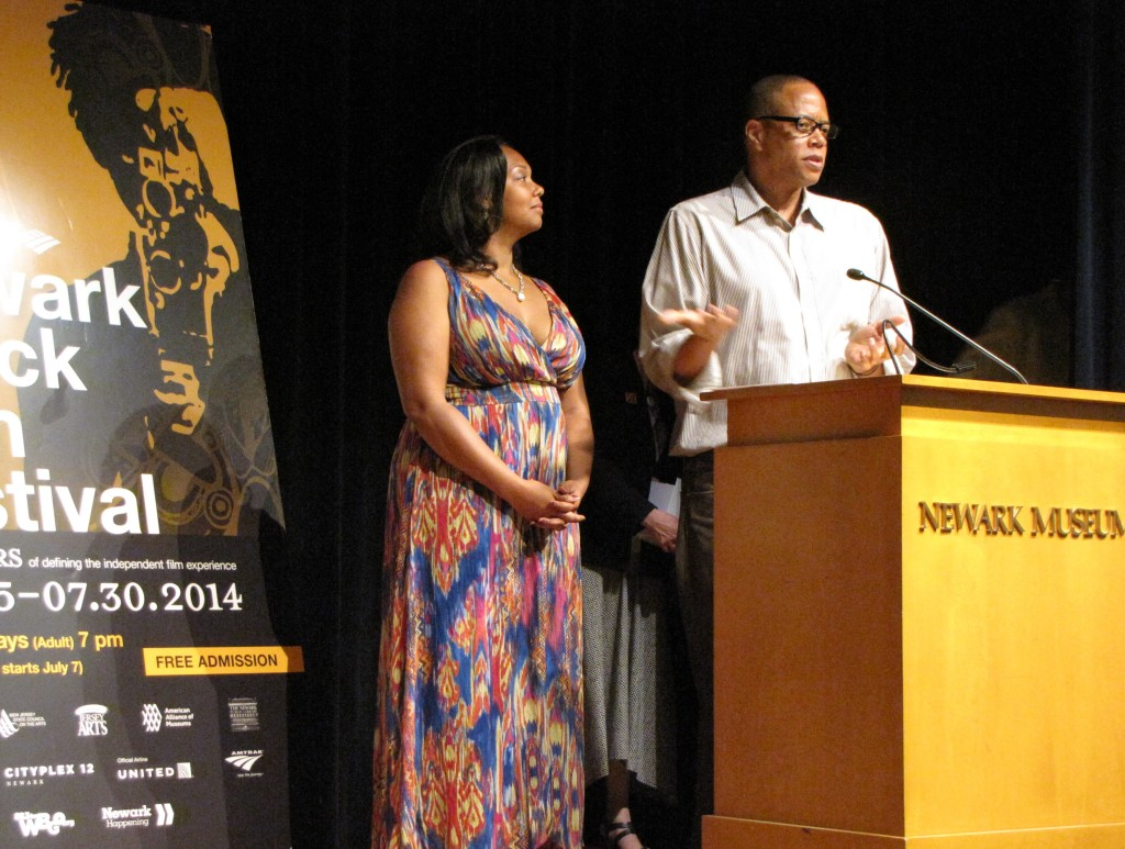 "Ralph Scott, right, filmmaker/producer/director of the film ""Barbasol,"" and producer Kiara Jones, left, accepted the Paul Robeson Award for short narrative at the 40th Newark Black Film Festival and dedicated the award to the late Betty Lawson."