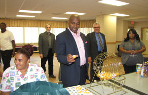 "Mayor Baraka's tour made a stop at NCC Associates, where he called bingo for a group of seniors. Richard Rohrman, CEO of New Community, on right of Baraka, told the mayor, ""The more we can partner, the stronger we can be."""
