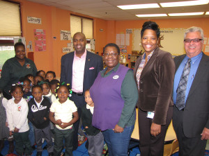 A group of students at Community Hills Early Learning Center sang a song for the mayor about the importance of fire prevention. Center Director Cheryl Mack, second from right, gave Baraka a tour of the facility. New Community CEO Richard Rohrman, far right, and Richard Cammarieri, not pictured, Director of Special Projects, accompanied the mayor on his tour around the network.