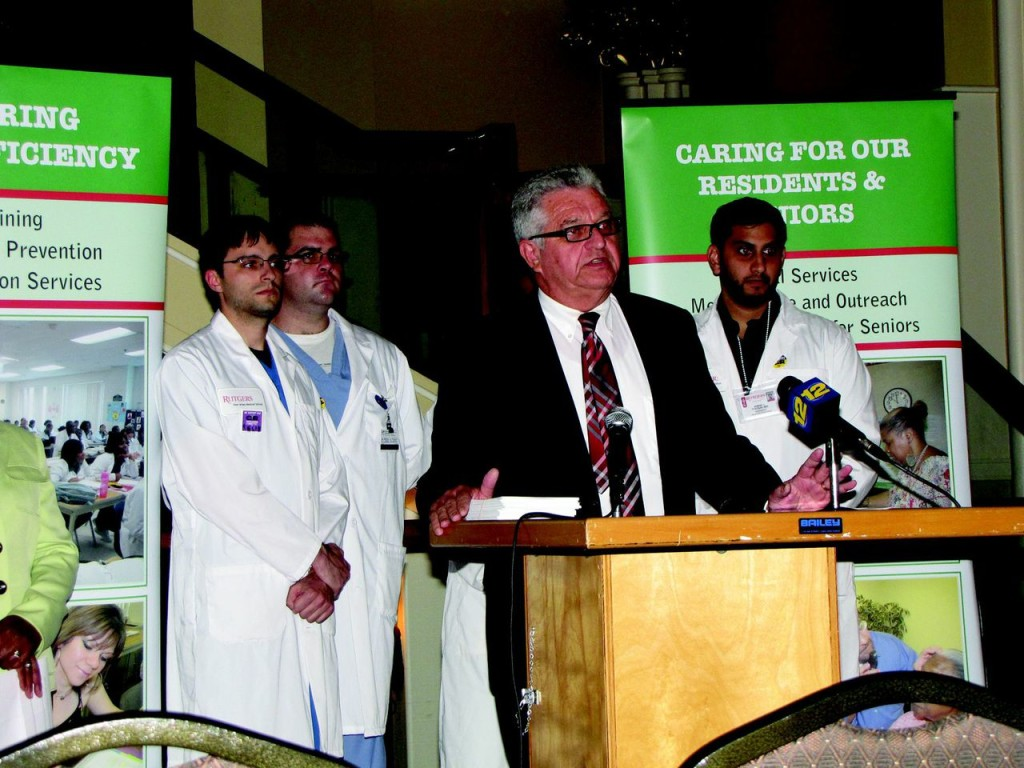 Richard Rohrman, CEO of New Community, speaks at a press conference at St. Joseph Plaza that opposed the current terms of sale of a Newark hospital being taken over by Prime Healthcare Services.
