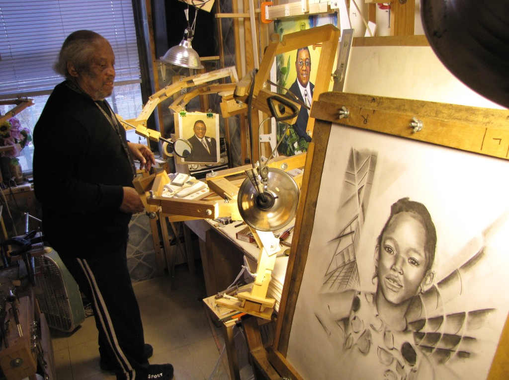 His bedroom is wholly converted into an art studio where he was recently working on various portraits.