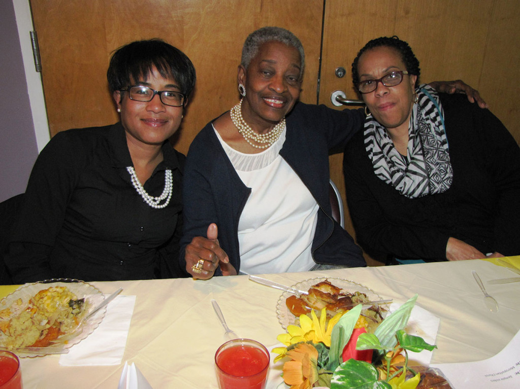 Three ladies from Metropolitan Baptist Church in Newark who volunteer at the Extended Care Facility enjoy their meals at the annual Volunteer Appreciation Dinner.
