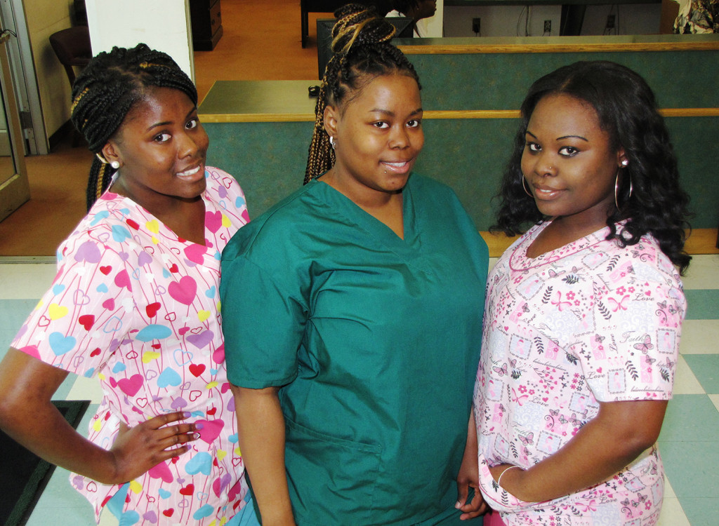 From left: Mizani Drummond, Qaneisha McCree and Shamella Hughes will be working as Certified Home Health Aides for Caring People Home Healthcare Agency.