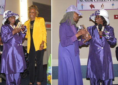 Newark City Council President Mildred Crump, holding microphone, presents awards to NCC Board Member Madge Wilson, left photo, and Elnora Haynes, right photo, a resident of New Community Associates.