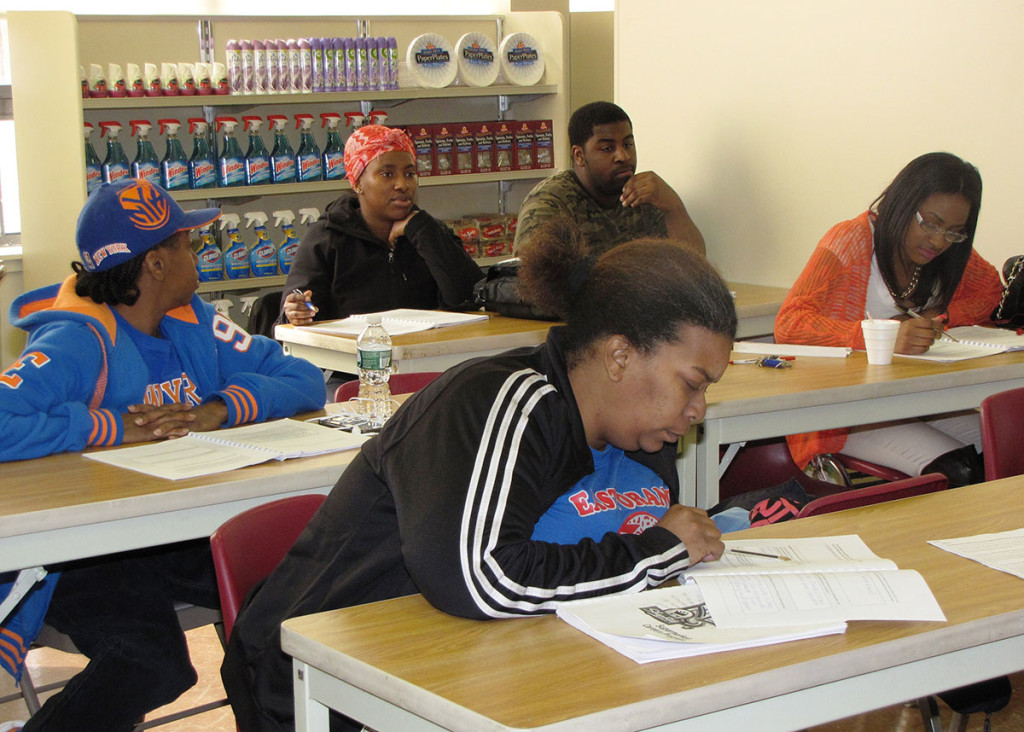 Students attend class inside NCC's mini-store, which is set up to simulate a ShopRite.