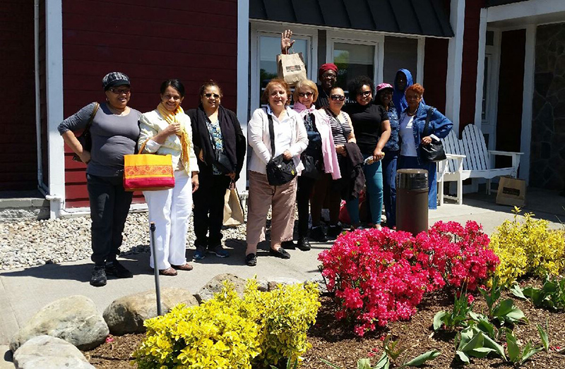 Residents of New Community Douglas Homes, located at 15 Hill St. in Newark, took advantage of the spring-like weather on a recent day and went on a dine-and-shop excursion to the Union Plaza Shopping Center in Union. The group also enjoyed lunch at Red Lobster on the trip, which was organized by NCC Health and Social Services.  Photo courtesy of Angeli Martinez.