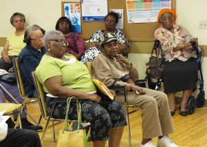 Orange Senior residents came prepared with questions to the information session.