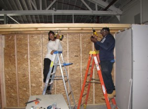 Building Trades two students with drills