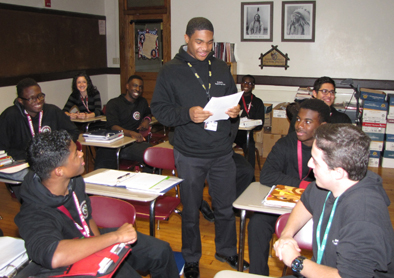Byron Simmons, a junior, in his American history class at St. Benedict's Prep, an all-boys school in Newark.