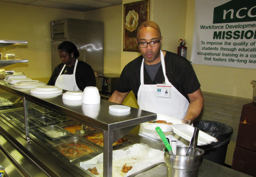 The Culinary Arts Specialist Program students serve food to NCC staff and community members at the Culinary Cafe, located inside Extended Care.