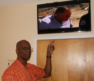 Each resident has access to a new television that includes a special remote speaker system.