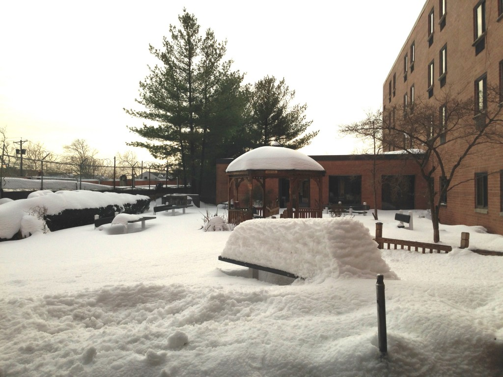 The patio at Extended Care was blanketed with snow from a historic storm that dumped 28.1 inches of snow in Newark.