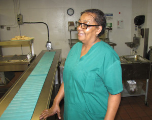 Gwendolyn Robinson serves the residents of the Extended Care Facility as a dietary aide in the kitchen.
