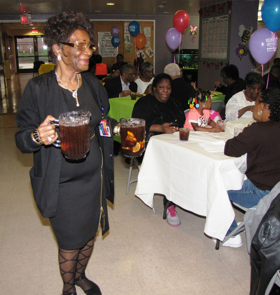 Staff of New Community Extended Care Facility thanked its volunteers, who selflessly give of their time year-round. Elizabeth Brookins, activities director, served drinks.