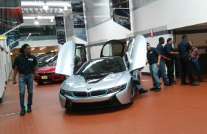 Auto students at BMW inside car