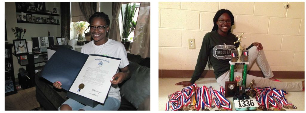 Infinity Hedrington, on left, shows her award as an honoree of the 2016 Youth Who Uplift. File photo on right of Hedrington while she and her family lived at Harmony House in June 2014.