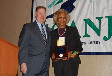 Madge Wilson, right, received an engraved plaque that honored her as the Health Care Association of New Jersey's Volunteer of the Year. John Dolan, president and CEO of HCANJ, is on left. Photos courtesy of Pattie Tucker.