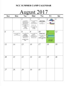 NCC Summer Camp Calendar17-Aug