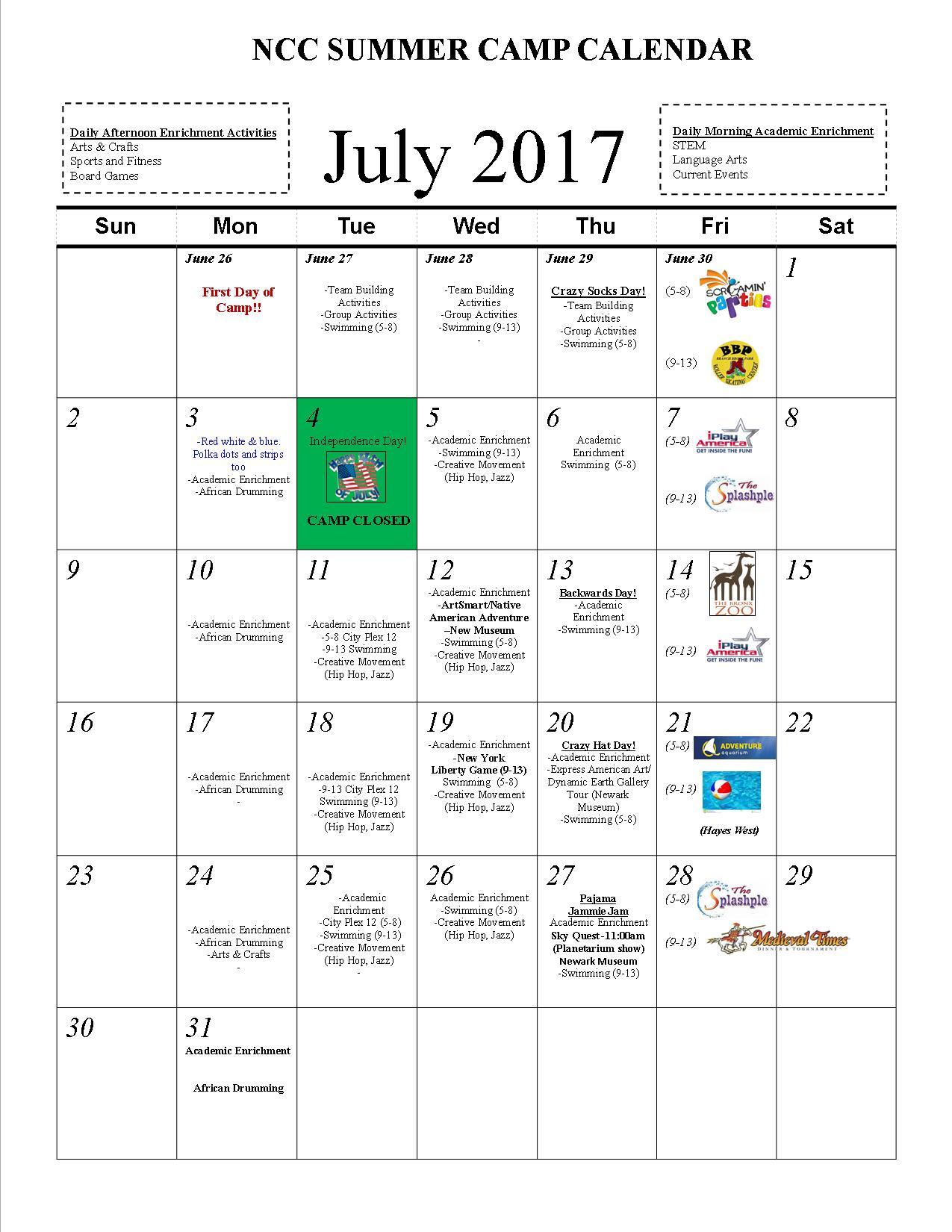 Summer Camp 2017 Schedule
