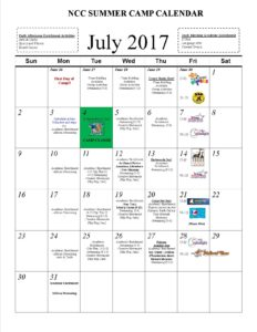 NCC Summer Camp Calendar17-July
