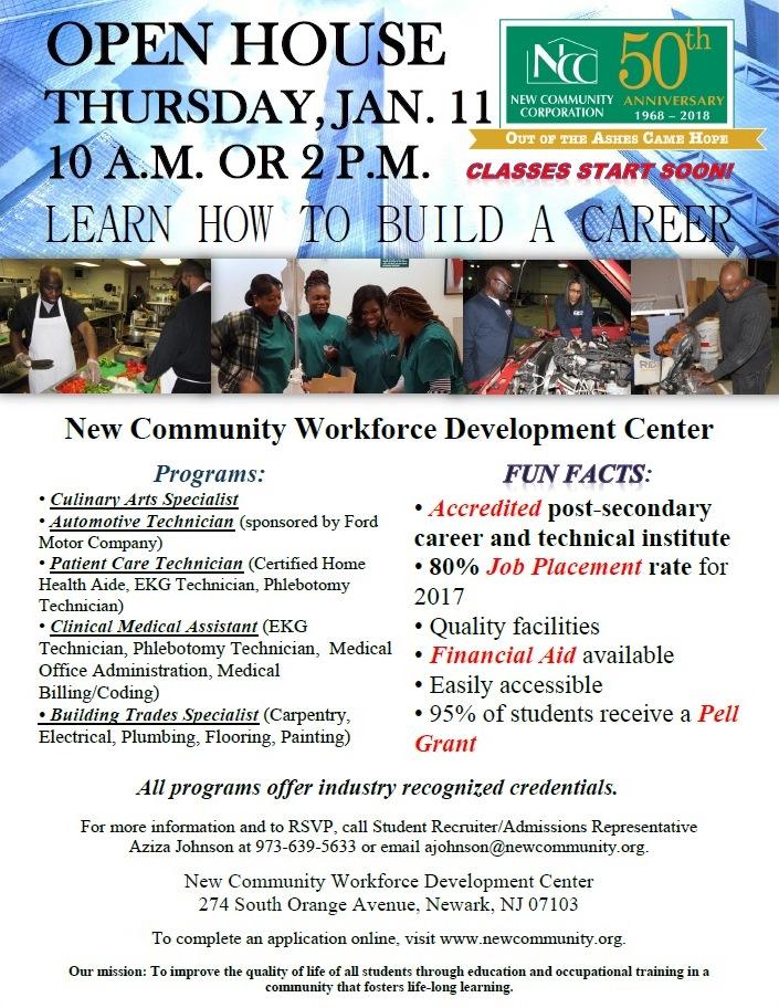 New Community Workforce Development Center To Host Open House Jan. 11
