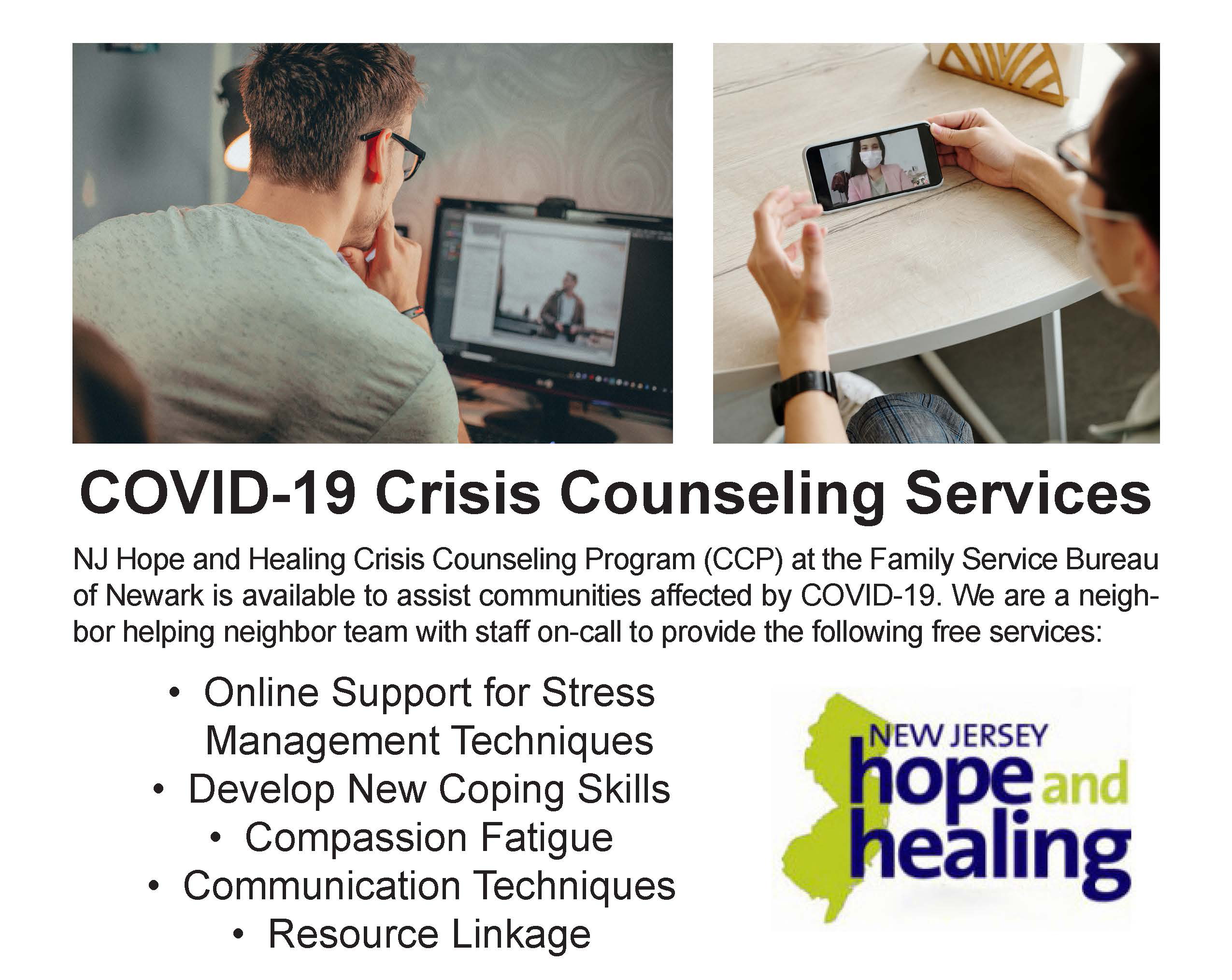 Free COVID-19 Crisis Counseling Services Available to Residents of Bergen, Essex, Hudson and Passaic Counties