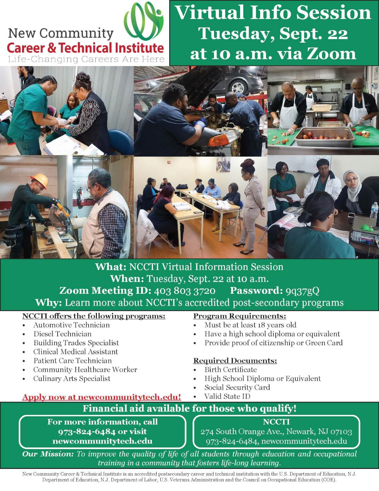 New Community Career & Technical Institute Virtual Info Session