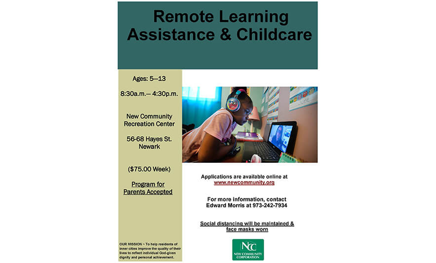 New Community Offers Remote Learning Assistance and Childcare for Children 5-13