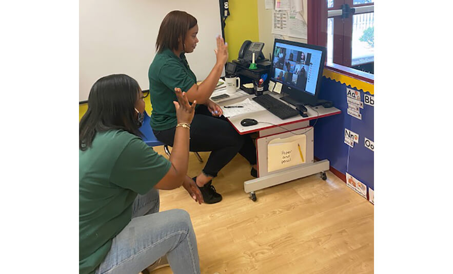 CHELC Opening 2020 Teachers Showing Five to Virtual Class for Website