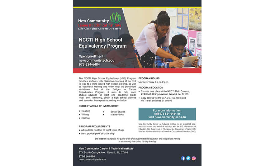 NCCTI Offers Free High School Equivalency Program for Ages 16-24