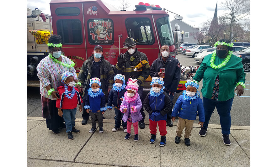 CHELC Fire Department Visit 4-16-2021 Group with Flowers for Web