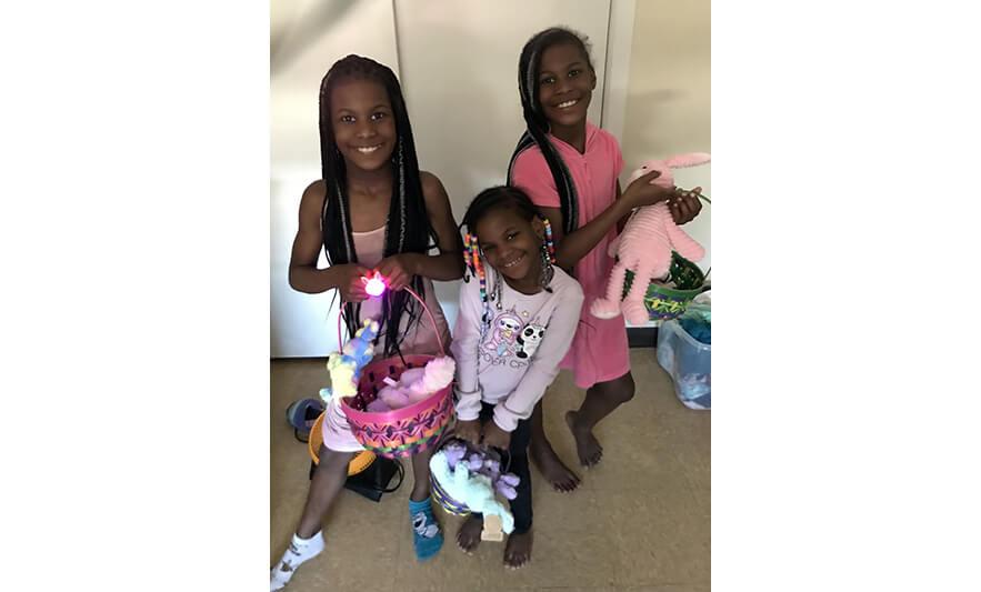 Families Easter Baskets 2021 3 Girls Enjoying Baskets for Web