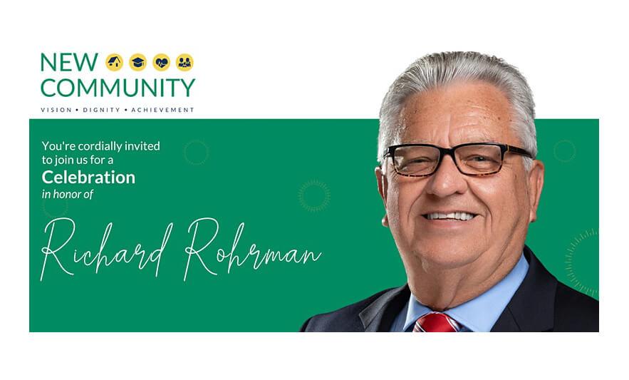 Live Stream: Celebrate New Community CEO Richard Rohrman's Retirement on May 20