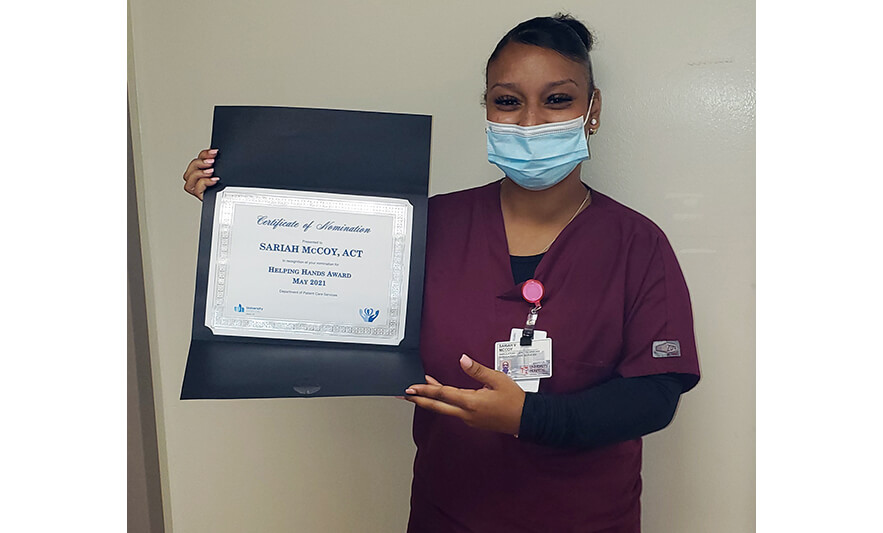New Community Career & Technical Institute Graduate Receives Award for Work at University Hospital