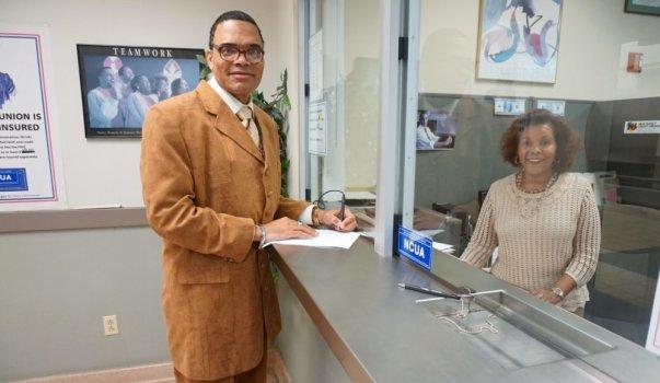 Miles Callender and Mulu Gebreyesus at Credit Union
